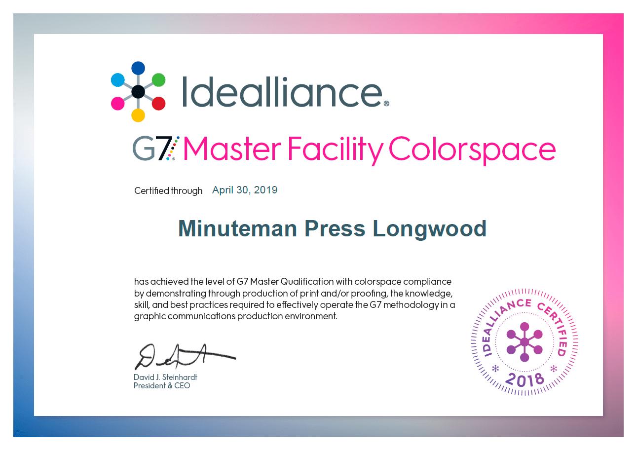 G7 Master Printer Certification - Minuteman Press Longwood