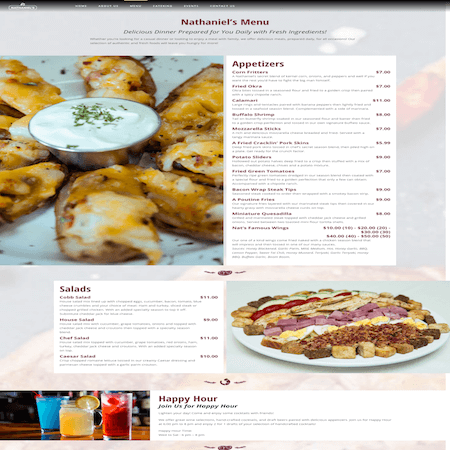 Nathaniels | Restaurant Website Design | MMP Longwood