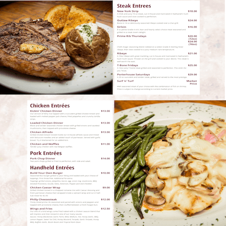 Menu | Website Design Portfolio | MMP Longwood