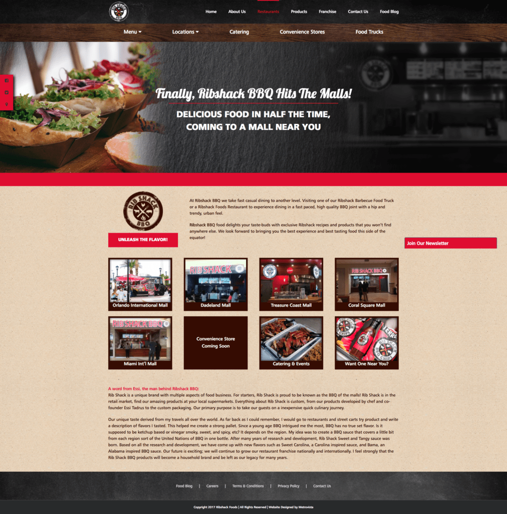 Ribshack Restaurant Website | MMP Longwood