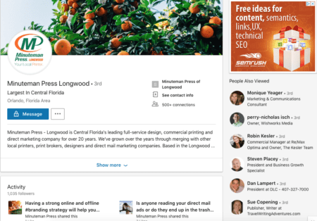 LinkedIn Example | Social Media Case Study | Minuteman Press Longwood